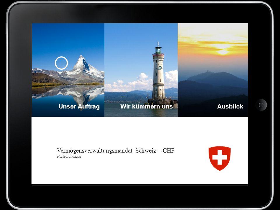 Vermögensverwaltungsmandat Schweiz – CHF Festverzinslich Unser AuftragAusblickWir kümmern uns