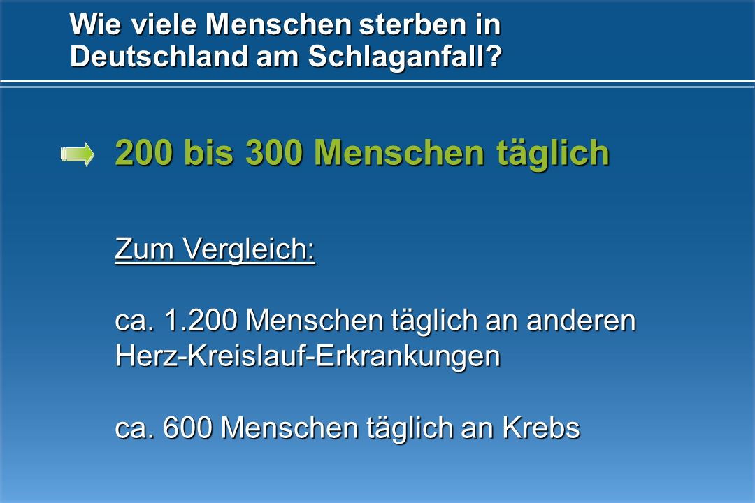 550 Menschen täglich in Deutschland 500.000 Menschen müssen mit ihrem Schlaganfall leben Wie viele Menschen erleiden in Deutschland einen Schlaganfall