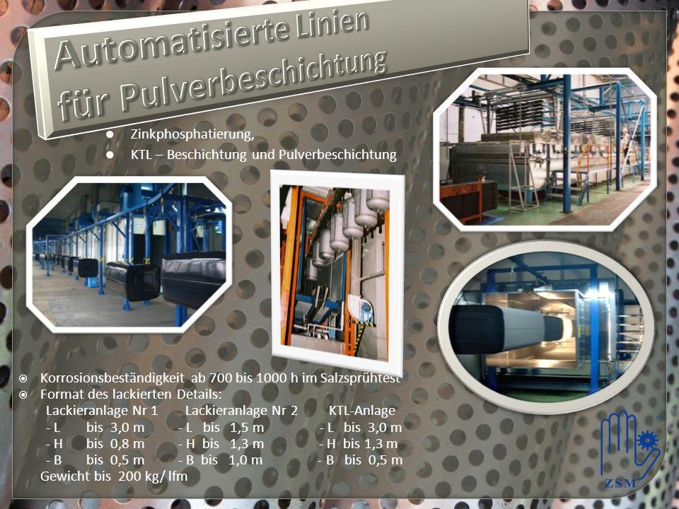 Korrosionsbeständigkeit ab 700 bis 1000 h im Salzsprühtest Format des lackierten Details: Lackieranlage Nr 1 Lackieranlage Nr 2 KTL-Anlage - Lbis 3,0 m - L bis 1,5 m - L bis 3,0 m - Hbis 0,8 m - H bis 1,3 m - H bis 1,3 m - Bbis 0,5 m - B bis 1,0 m - B bis 0,5 m Gewicht bis 200 kg/ lfm Zinkphosphatierung, KTL – Beschichtung und Pulverbeschichtung