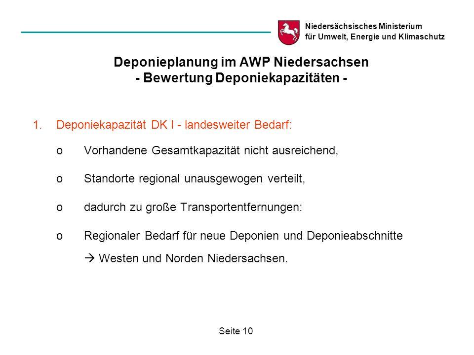 Niedersächsisches Ministerium für Umwelt, Energie und Klimaschutz Seite 10 Deponieplanung im AWP Niedersachsen - Bewertung Deponiekapazitäten - 1.Depo