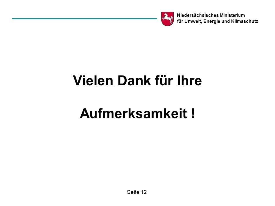 Niedersächsisches Ministerium für Umwelt, Energie und Klimaschutz Seite 12 Vielen Dank für Ihre Aufmerksamkeit !