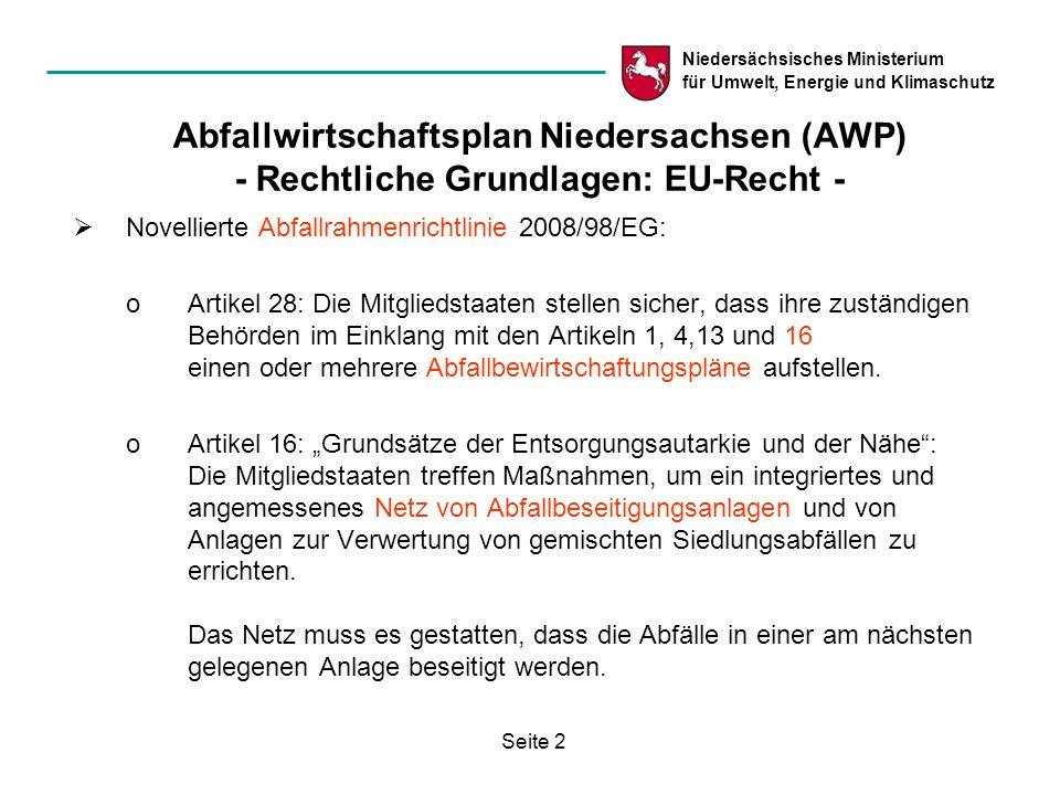 Niedersächsisches Ministerium für Umwelt, Energie und Klimaschutz Seite 3 Abfallwirtschaftsplan Niedersachsen (AWP) - Rechtliche Grundlagen: Bundesrecht - Bislang § 29 KrW-/AbfG (künftig ähnlich § 30 KrWG): (1)Die Länder stellen für ihren Bereich Abfallwirtschaftspläne nach überörtlichen Gesichtspunkten auf.