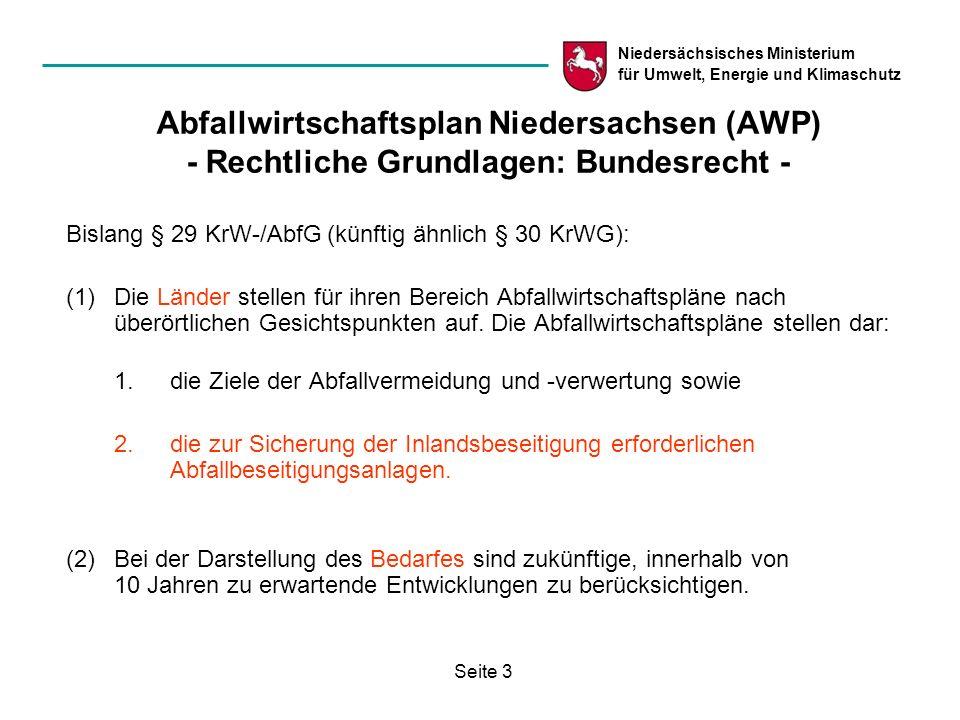 Niedersächsisches Ministerium für Umwelt, Energie und Klimaschutz Seite 3 Abfallwirtschaftsplan Niedersachsen (AWP) - Rechtliche Grundlagen: Bundesrec