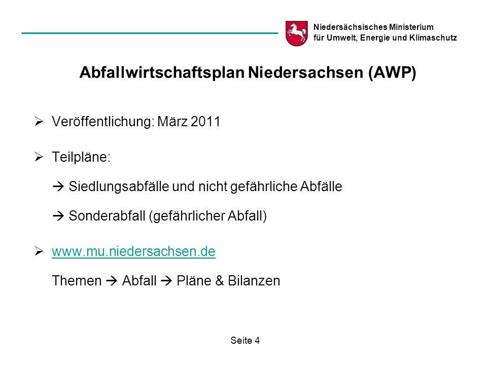 Niedersächsisches Ministerium für Umwelt, Energie und Klimaschutz Seite 4 Abfallwirtschaftsplan Niedersachsen (AWP) Veröffentlichung: März 2011 Teilpl