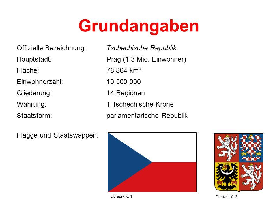 Grundangaben Offizielle Bezeichnung:Tschechische Republik Hauptstadt:Prag (1,3 Mio. Einwohner) Fläche:78 864 km² Einwohnerzahl:10 500 000 Gliederung:1