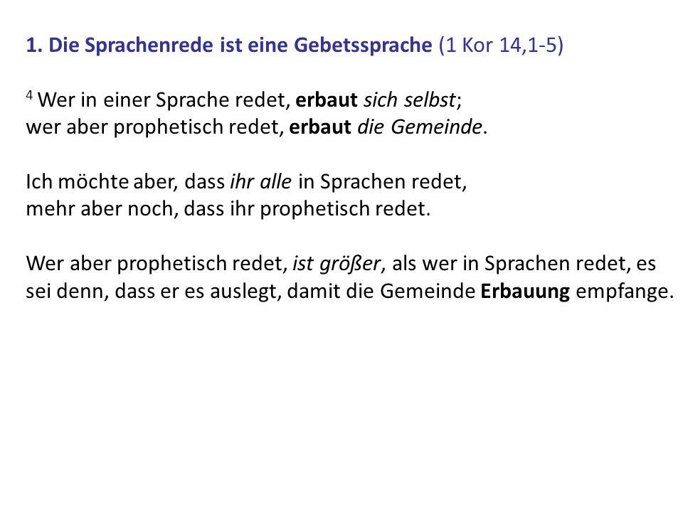 Prophetische Rede (Lehre) AuslegungSprachengebet Erbauung der Gemeinde Sprachengebet Selbsterbauung