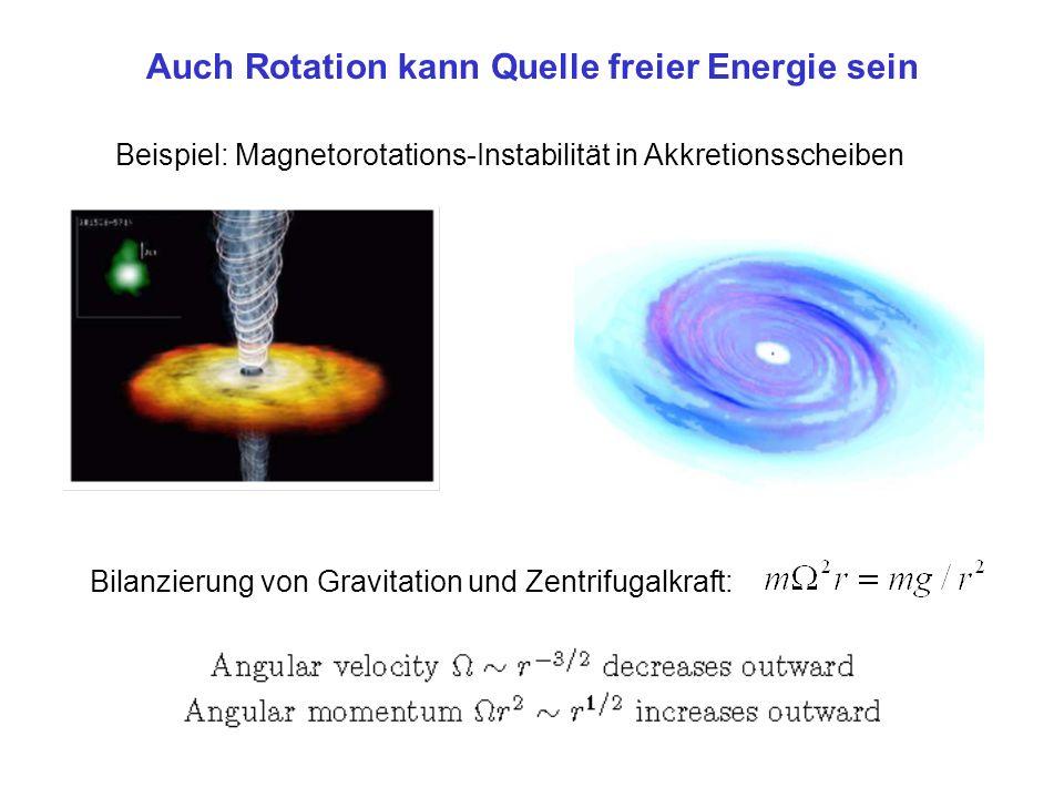 Auch Rotation kann Quelle freier Energie sein Beispiel: Magnetorotations-Instabilität in Akkretionsscheiben Bilanzierung von Gravitation und Zentrifugalkraft: