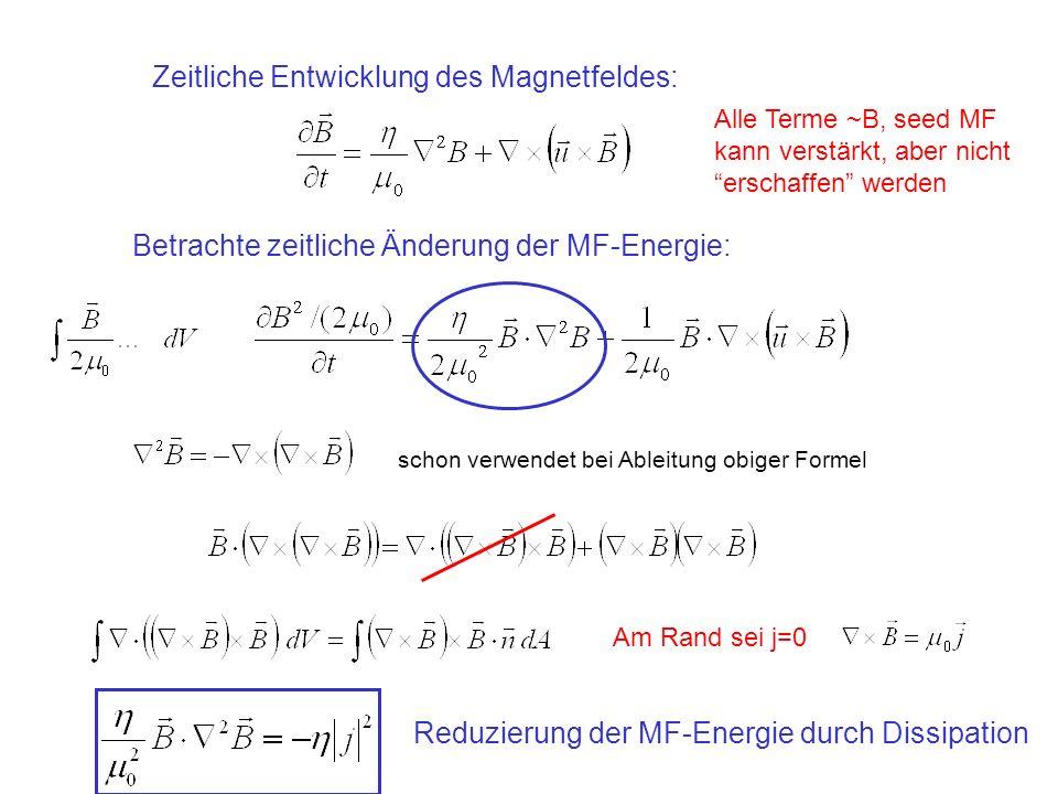 Zeitliche Entwicklung des Magnetfeldes: Betrachte zeitliche Änderung der MF-Energie: Alle Terme ~B, seed MF kann verstärkt, aber nicht erschaffen werden schon verwendet bei Ableitung obiger Formel Am Rand sei j=0 Reduzierung der MF-Energie durch Dissipation