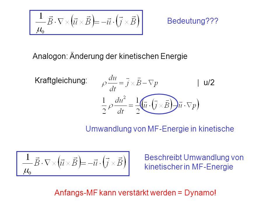 Analogon: Änderung der kinetischen Energie Kraftgleichung: | u/2 Umwandlung von MF-Energie in kinetische Beschreibt Umwandlung von kinetischer in MF-Energie Anfangs-MF kann verstärkt werden = Dynamo!