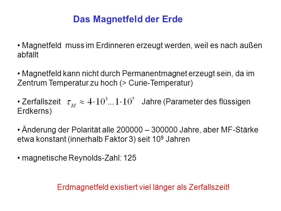 Magnetfeld muss im Erdinneren erzeugt werden, weil es nach außen abfällt Magnetfeld kann nicht durch Permanentmagnet erzeugt sein, da im Zentrum Temperatur zu hoch (> Curie-Temperatur) Zerfallszeit Jahre (Parameter des flüssigen Erdkerns) Änderung der Polarität alle 200000 – 300000 Jahre, aber MF-Stärke etwa konstant (innerhalb Faktor 3) seit 10 9 Jahren magnetische Reynolds-Zahl: 125 Das Magnetfeld der Erde Erdmagnetfeld existiert viel länger als Zerfallszeit!