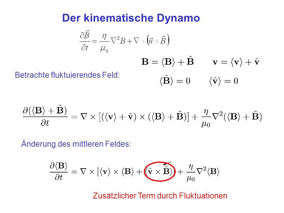 Betrachte fluktuierendes Feld: Der kinematische Dynamo Änderung des mittleren Feldes: Zusätzlicher Term durch Fluktuationen