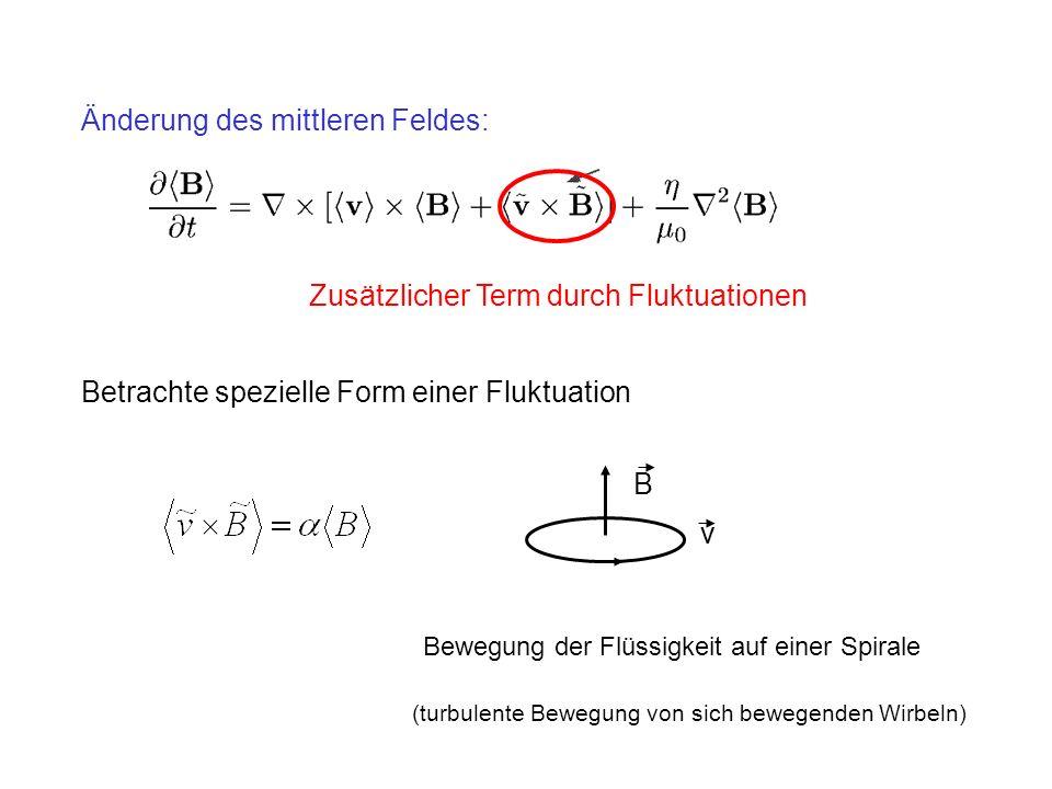 Änderung des mittleren Feldes: Zusätzlicher Term durch Fluktuationen Betrachte spezielle Form einer Fluktuation Bewegung der Flüssigkeit auf einer Spirale B v (turbulente Bewegung von sich bewegenden Wirbeln)