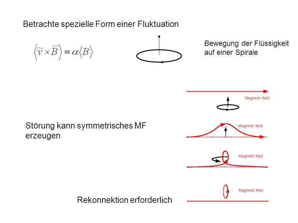 Betrachte spezielle Form einer Fluktuation Bewegung der Flüssigkeit auf einer Spirale Störung kann symmetrisches MF erzeugen Rekonnektion erforderlich