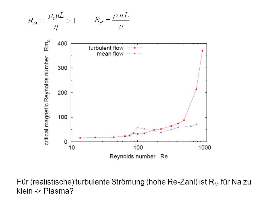 Für (realistische) turbulente Strömung (hohe Re-Zahl) ist R M für Na zu klein -> Plasma?