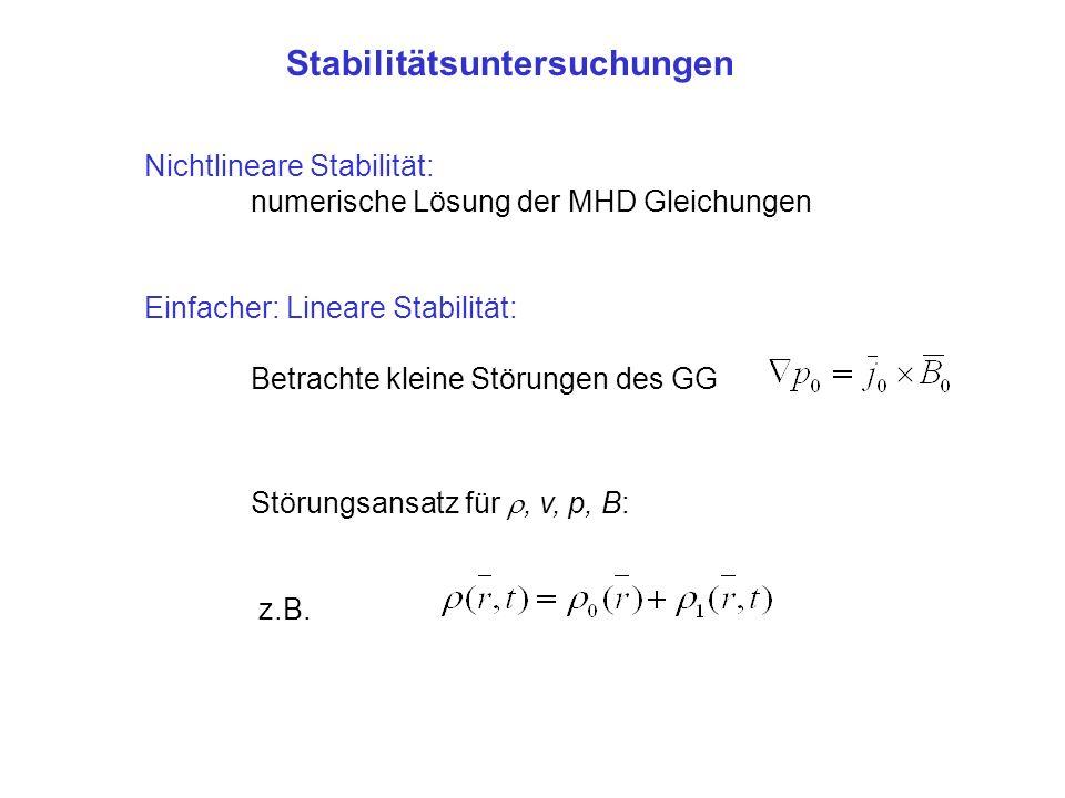 Nichtlineare Stabilität: numerische Lösung der MHD Gleichungen Einfacher: Lineare Stabilität: Betrachte kleine Störungen des GG Störungsansatz für, v, p, B: z.B.