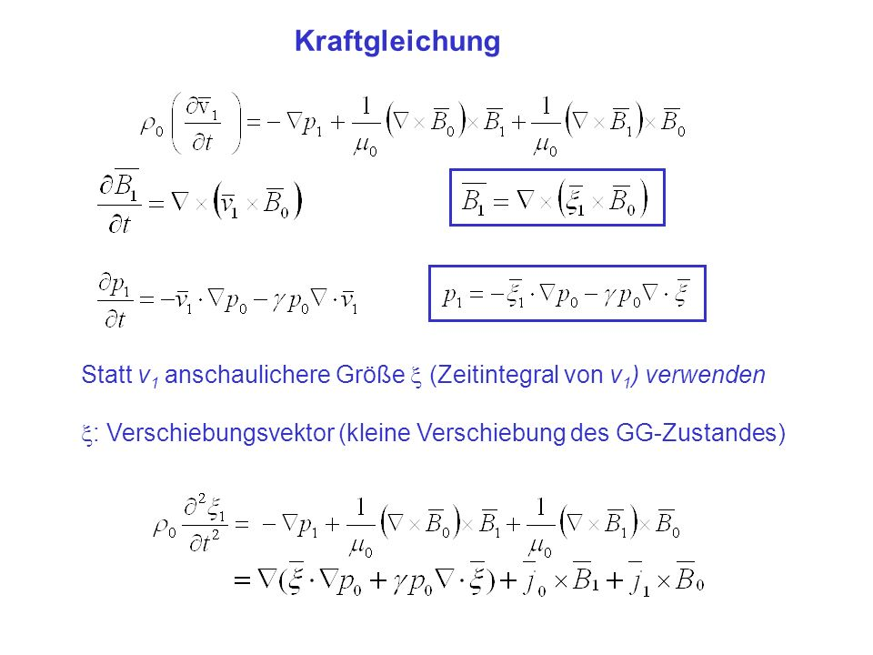 Kraftgleichung Statt v 1 anschaulichere Größe (Zeitintegral von v 1 ) verwenden : Verschiebungsvektor (kleine Verschiebung des GG-Zustandes)