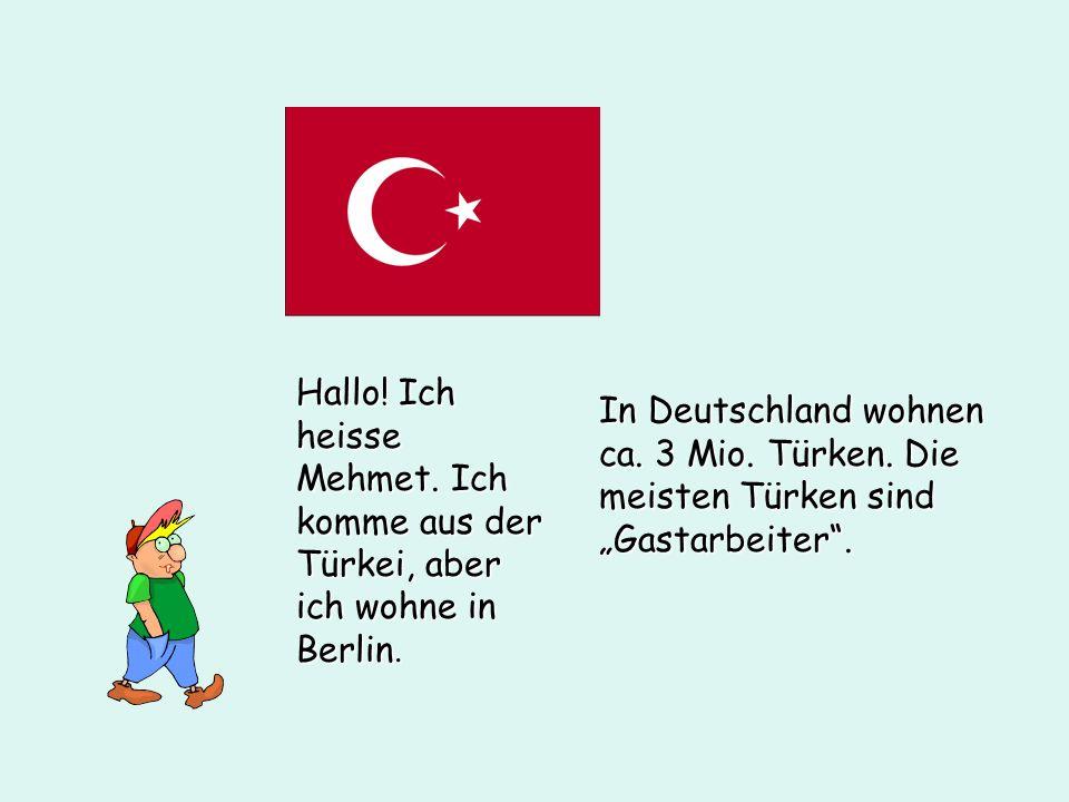 Hallo! Ich heisse Mehmet. Ich komme aus der Türkei, aber ich wohne in Berlin. In Deutschland wohnen ca. 3 Mio. Türken. Die meisten Türken sind Gastarb