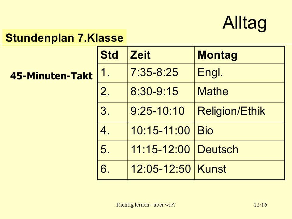 Richtig lernen - aber wie 12/16 Alltag Stundenplan 7.Klasse StdZeitMontag 1.7:35-8:25Engl.