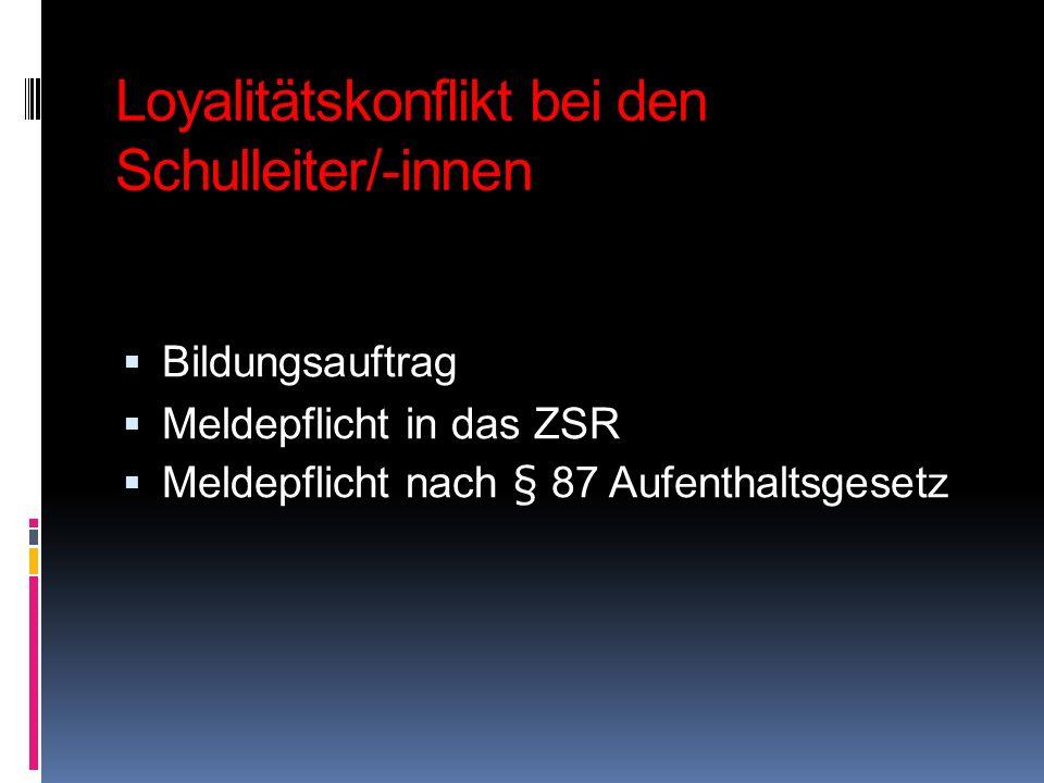 Loyalitätskonflikt bei den Schulleiter/-innen Bildungsauftrag Meldepflicht in das ZSR Meldepflicht nach § 87 Aufenthaltsgesetz