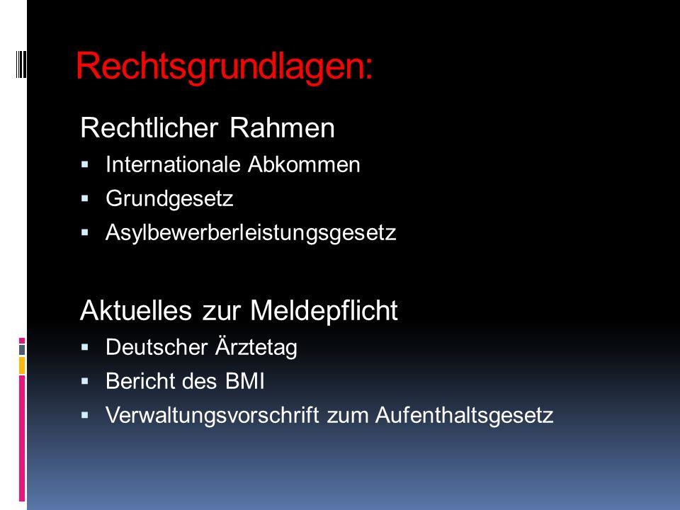 Rechtsgrundlagen: Rechtlicher Rahmen Internationale Abkommen Grundgesetz Asylbewerberleistungsgesetz Aktuelles zur Meldepflicht Deutscher Ärztetag Ber
