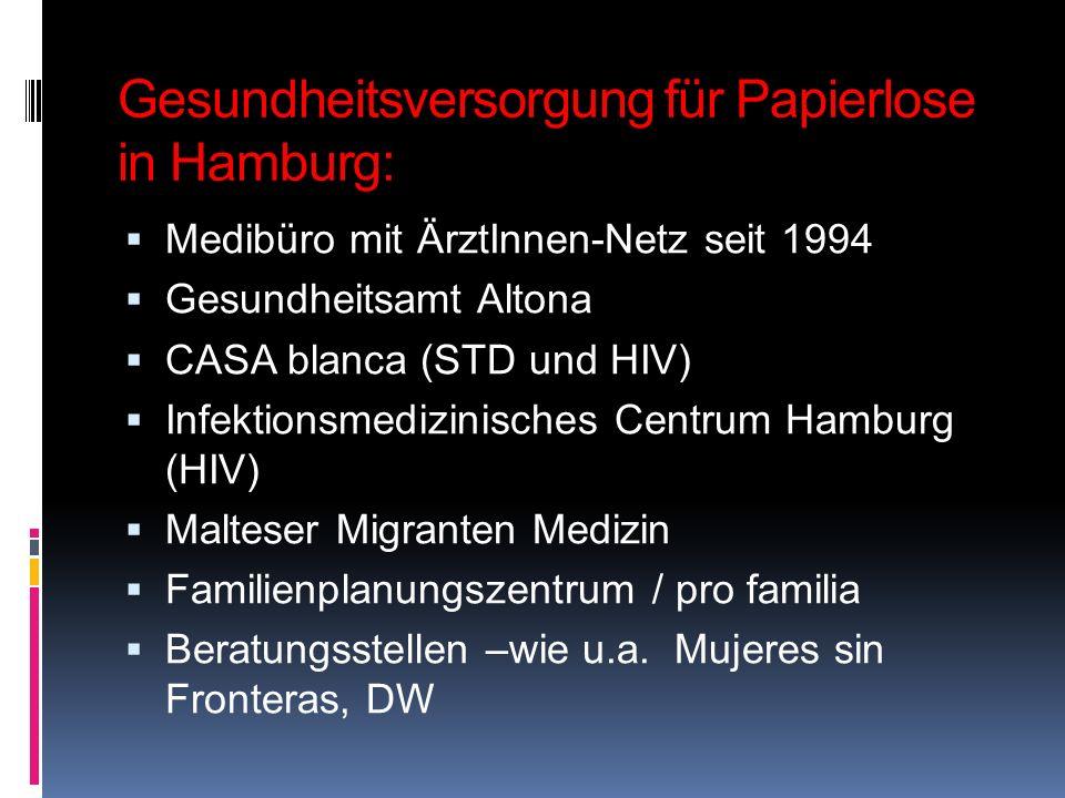Gesundheitsversorgung für Papierlose in Hamburg: Medibüro mit ÄrztInnen-Netz seit 1994 Gesundheitsamt Altona CASA blanca (STD und HIV) Infektionsmediz