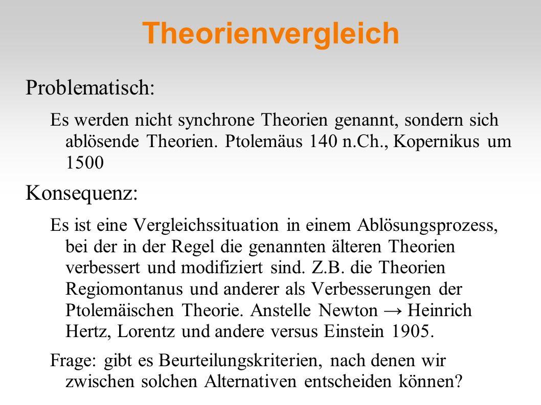 Theorienvergleich Problematisch: Es werden nicht synchrone Theorien genannt, sondern sich ablösende Theorien. Ptolemäus 140 n.Ch., Kopernikus um 1500