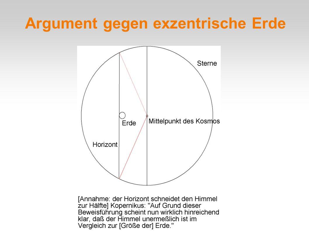 Argument gegen exzentrische Erde
