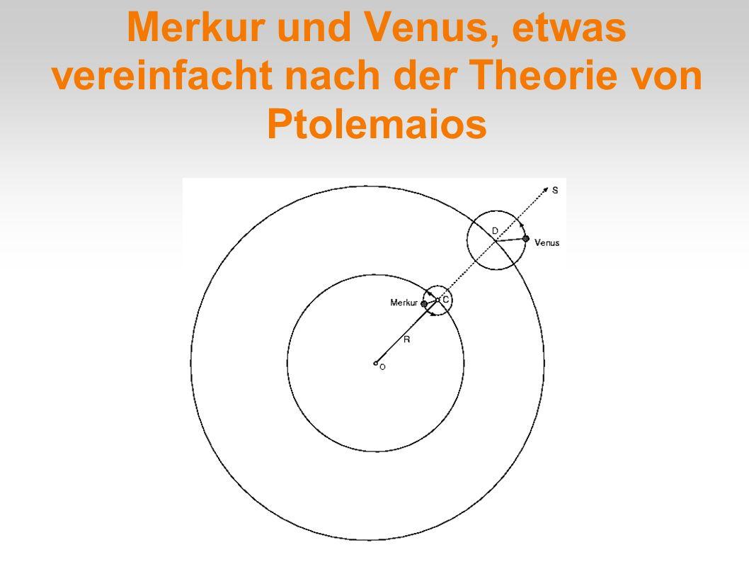Merkur und Venus, etwas vereinfacht nach der Theorie von Ptolemaios