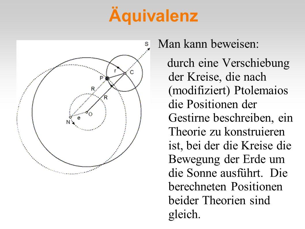 Äquivalenz Man kann beweisen: durch eine Verschiebung der Kreise, die nach (modifiziert) Ptolemaios die Positionen der Gestirne beschreiben, ein Theor