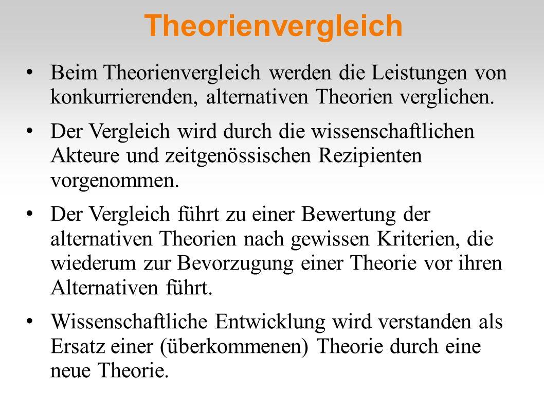 Theorienvergleich Beim Theorienvergleich werden die Leistungen von konkurrierenden, alternativen Theorien verglichen. Der Vergleich wird durch die wis