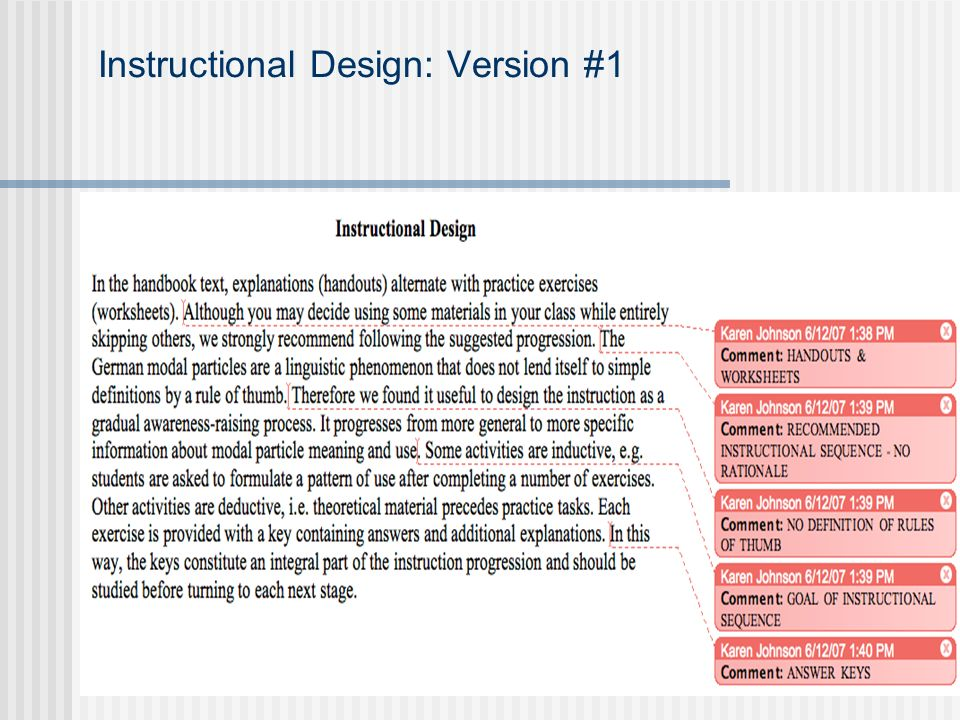 Instructional Design: Version #1