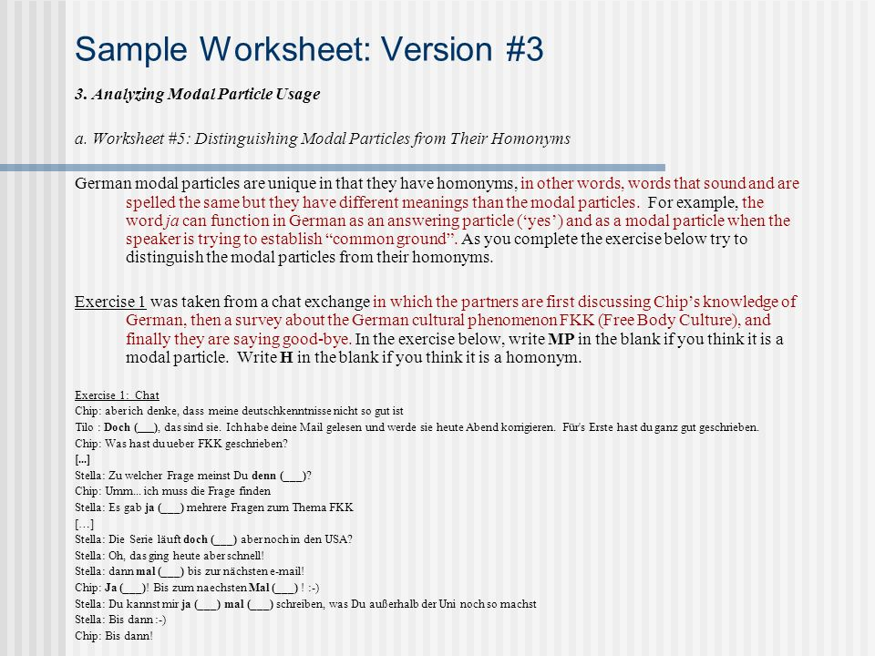 Sample Worksheet: Version #3 3. Analyzing Modal Particle Usage a.