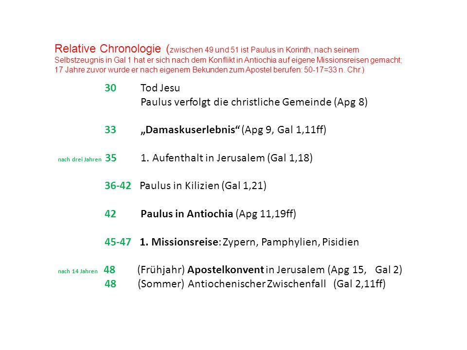 Relative Chronologie ( zwischen 49 und 51 ist Paulus in Korinth, nach seinem Selbstzeugnis in Gal 1 hat er sich nach dem Konflikt in Antiochia auf eig