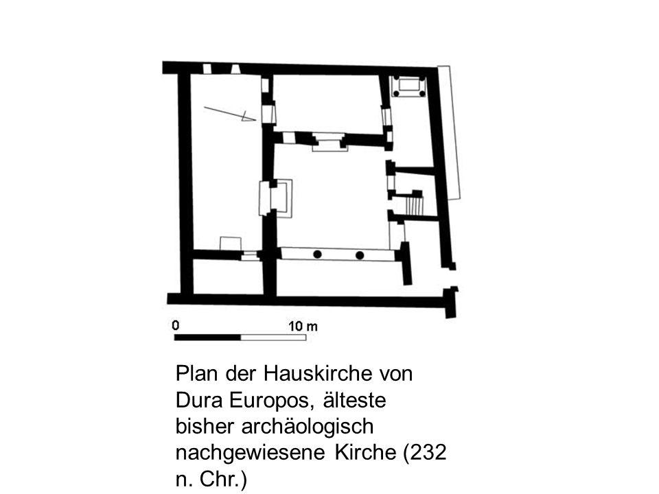 Plan der Hauskirche von Dura Europos, älteste bisher archäologisch nachgewiesene Kirche (232 n. Chr.)