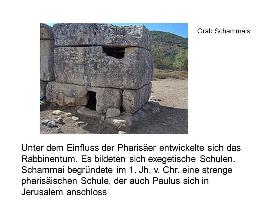 Unter dem Einfluss der Pharisäer entwickelte sich das Rabbinentum. Es bildeten sich exegetische Schulen. Schammai begründete im 1. Jh. v. Chr. eine st