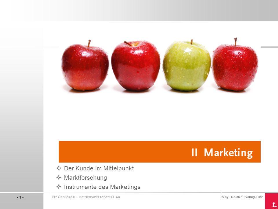 © by TRAUNER Verlag, Linz - 1 - Praxisblicke II – Betriebswirtschaft II HAK Der Kunde im Mittelpunkt Marktforschung Instrumente des Marketings