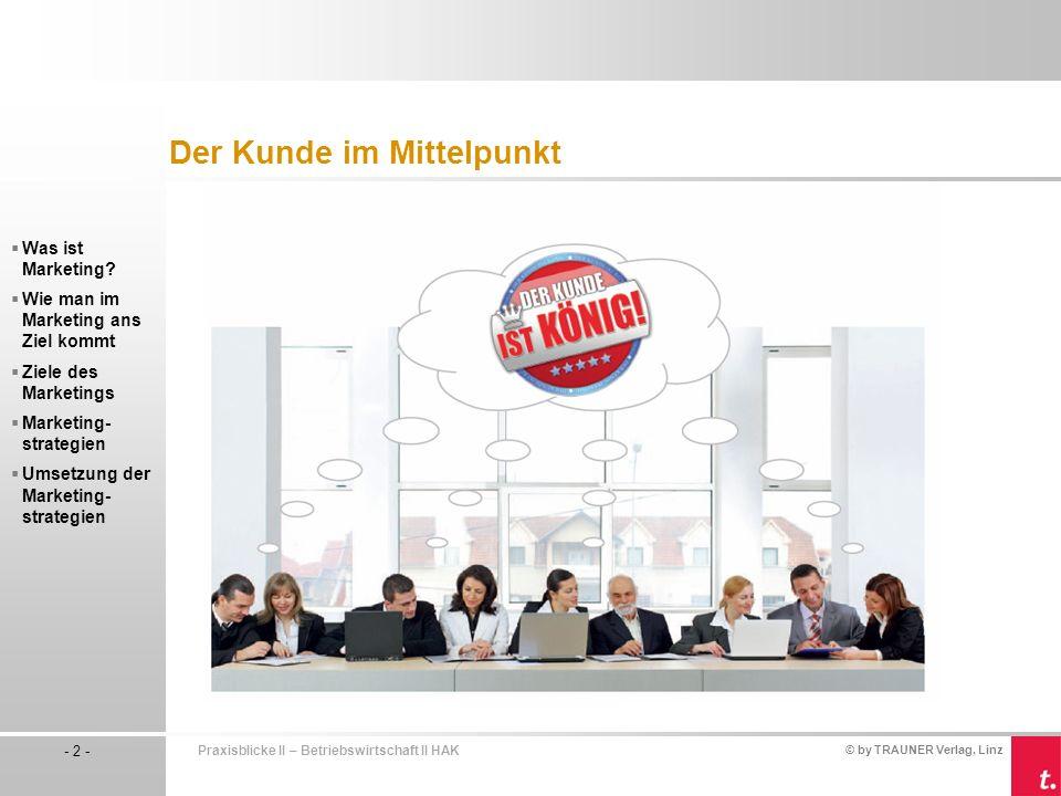 © by TRAUNER Verlag, Linz - 2 - Praxisblicke II – Betriebswirtschaft II HAK Was ist Marketing.