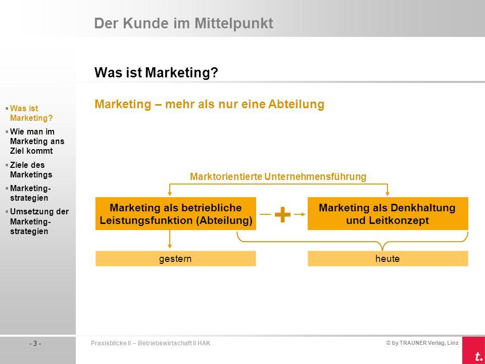 © by TRAUNER Verlag, Linz - 3 - Praxisblicke II – Betriebswirtschaft II HAK Was ist Marketing.