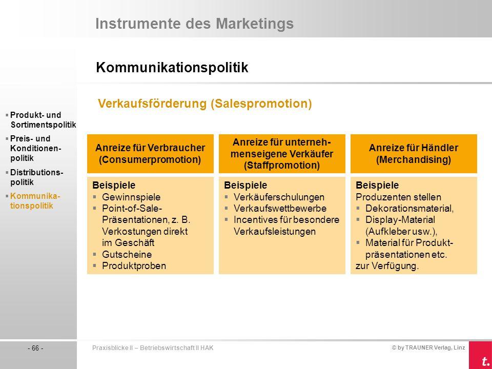 © by TRAUNER Verlag, Linz - 66 - Praxisblicke II – Betriebswirtschaft II HAK Kommunikationspolitik Instrumente des Marketings Produkt- und Sortimentspolitik Preis- und Konditionen- politik Distributions- politik Kommunika- tionspolitik Verkaufsförderung (Salespromotion) Anreize für Verbraucher (Consumerpromotion) Anreize für unterneh- menseigene Verkäufer (Staffpromotion) Anreize für Händler (Merchandising) Beispiele Gewinnspiele Point-of-Sale- Präsentationen, z.