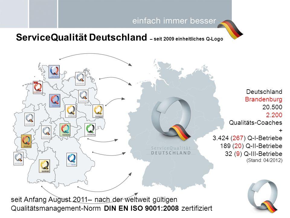 Deutschland Brandenburg 20.500 2.200 Qualitäts-Coaches + 3.424 (267) Q-I-Betriebe 189 (20) Q-II-Betriebe 32 (9) Q-III-Betriebe (Stand: 04/2012) Servic