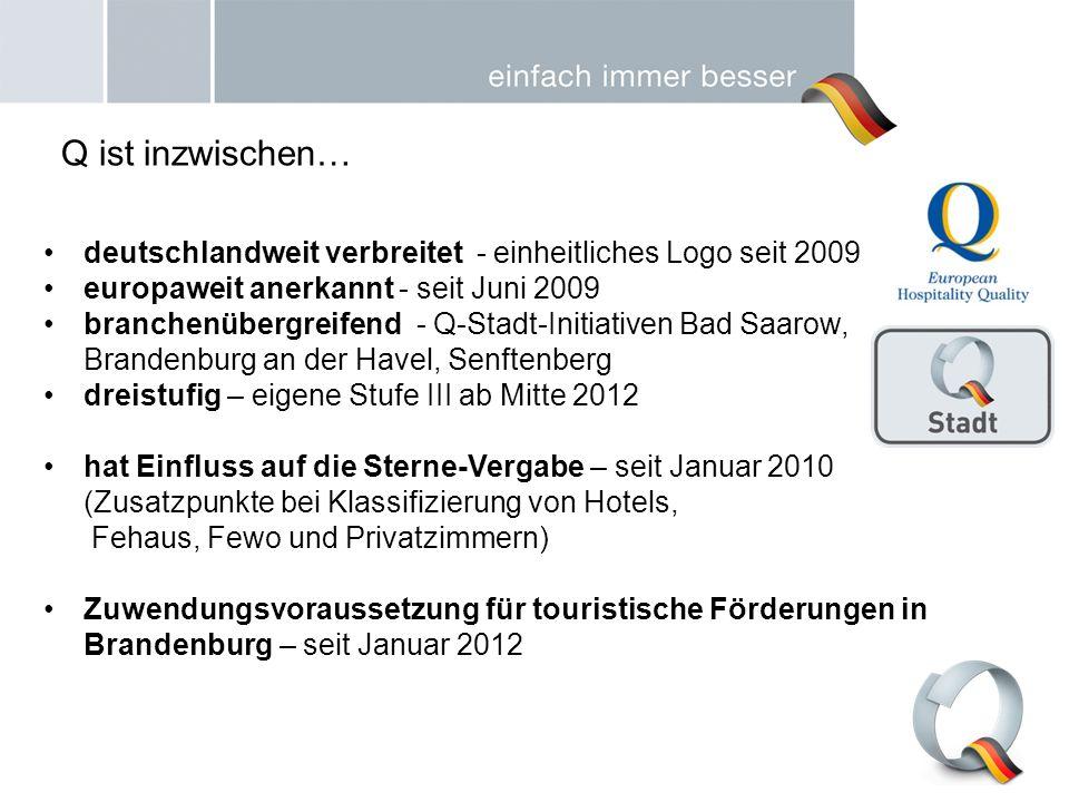 deutschlandweit verbreitet - einheitliches Logo seit 2009 europaweit anerkannt - seit Juni 2009 branchenübergreifend - Q-Stadt-Initiativen Bad Saarow,