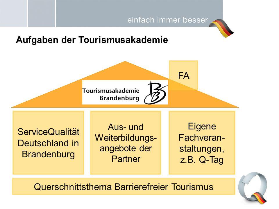 ServiceQualität Deutschland in Brandenburg Aus- und Weiterbildungs- angebote der Partner Eigene Fachveran- staltungen, z.B. Q-Tag Querschnittsthema Ba