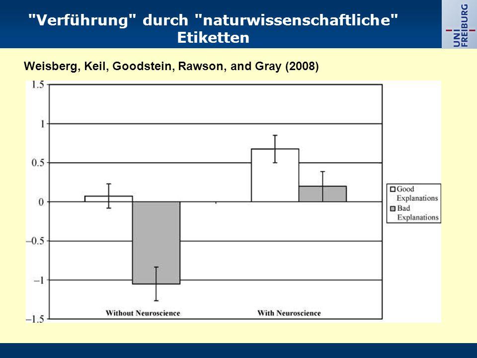 Verführung durch naturwissenschaftliche Etiketten Weisberg, Keil, Goodstein, Rawson, and Gray (2008)