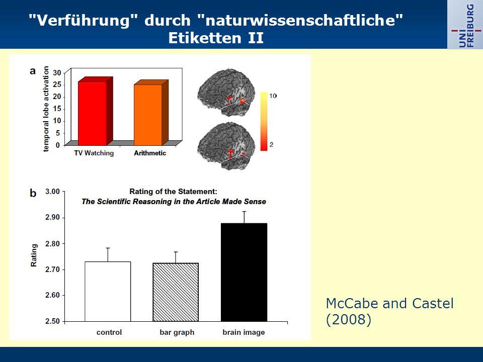 Verführung durch naturwissenschaftliche Etiketten II McCabe and Castel (2008)