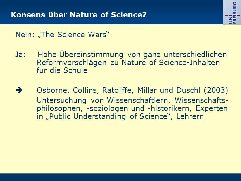 Konsens über Nature of Science.