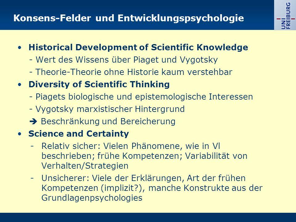 Konsens-Felder und Entwicklungspsychologie Historical Development of Scientific Knowledge - Wert des Wissens über Piaget und Vygotsky - Theorie-Theori