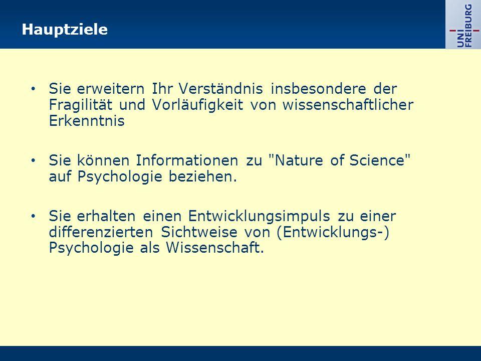 Hauptziele Sie erweitern Ihr Verständnis insbesondere der Fragilität und Vorläufigkeit von wissenschaftlicher Erkenntnis Sie können Informationen zu Nature of Science auf Psychologie beziehen.