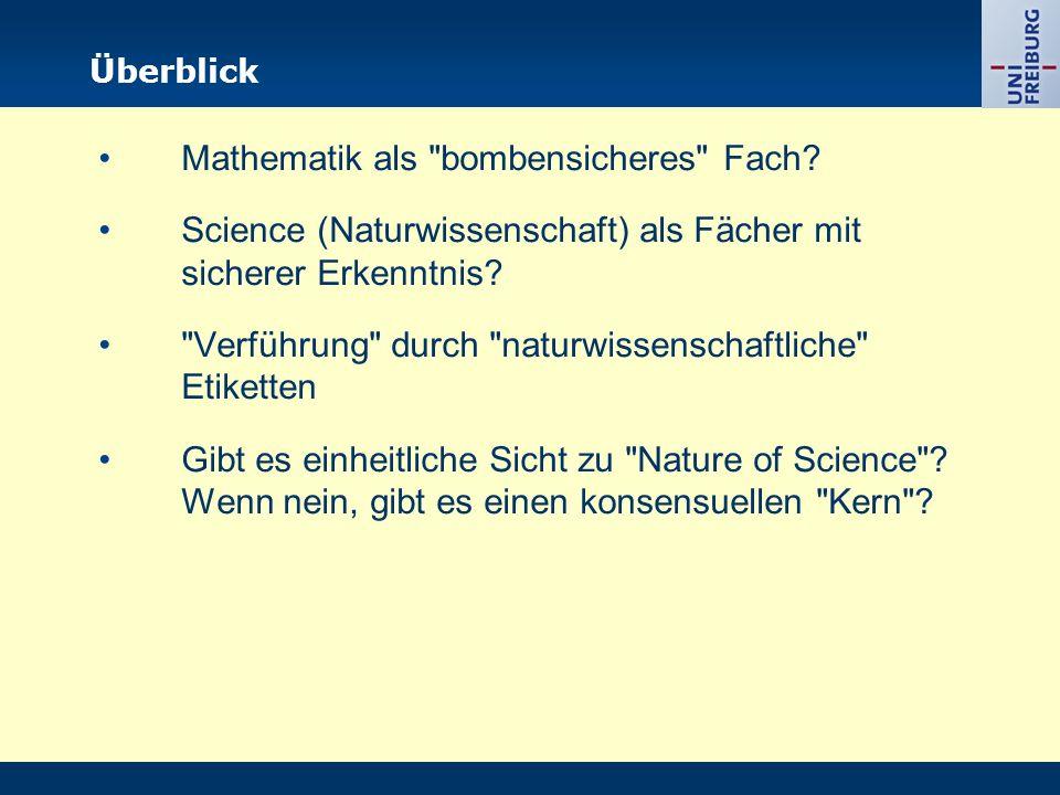 Überblick Mathematik als bombensicheres Fach.