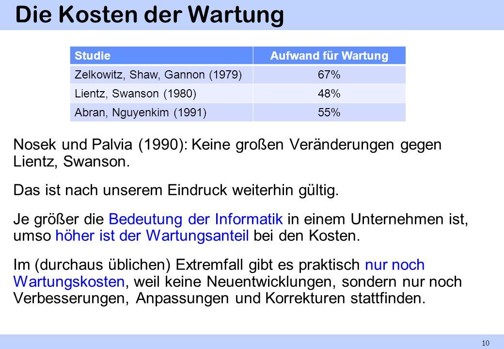 Die Kosten der Wartung Nosek und Palvia (1990): Keine großen Veränderungen gegen Lientz, Swanson. Das ist nach unserem Eindruck weiterhin gültig. Je g