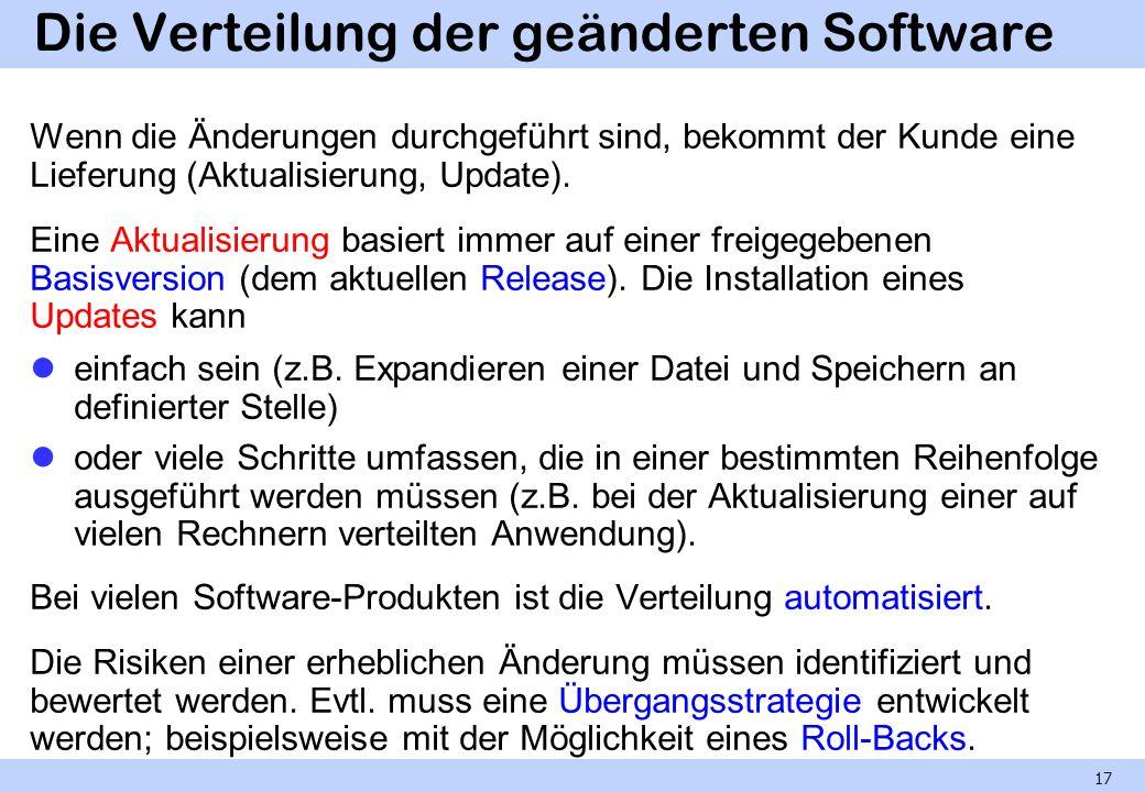Die Verteilung der geänderten Software Wenn die Änderungen durchgeführt sind, bekommt der Kunde eine Lieferung (Aktualisierung, Update). Eine Aktualis